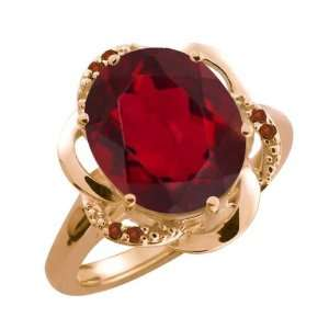 Oval Ruby Red Mystic Quartz and Cognac Red Diamond 18k Rose Gold Ring