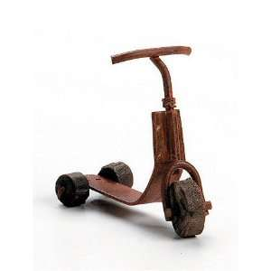 Metal Scooter with Wooden Wheels   Doll House Miniature Toys & Games