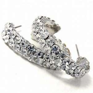 Double Line Clear Rhinestone Hoop Earrings Fashion Jewelry Jewelry