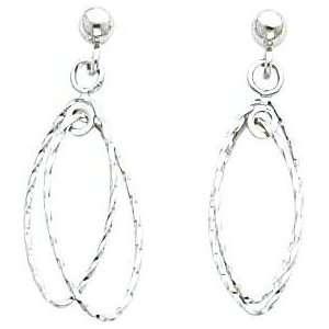 White gold Double Hoop Dangle Earrings Jewelry Jewelry