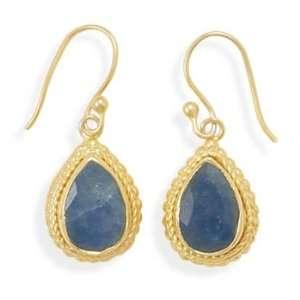 14 Karat Gold Plated Rough Cut Sapphire Earrings Jewelry
