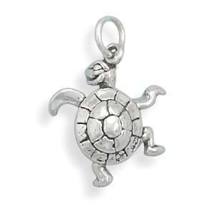 Sterling Silver Small Turtle Charm Pendant Necklace Jewelry
