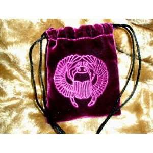 Velvet Embossed Egyptian Scarab Beetle Treasure Bag Home