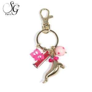 Pink Rose Combinaison Other Fashion Accessories Key Chain Metal/Enamel