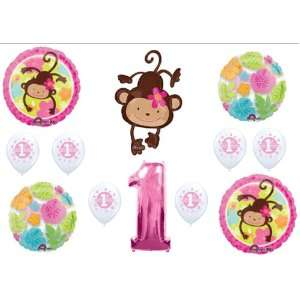 Mod Monkey Love 1st First BIRTHDAY PARTY Balloons Decorations Supplies