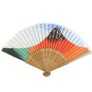 Painted Fabric   Perforated Brown Wood Hand Held Folding Fan