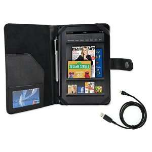 Cover Folio Leather Case (Black) for  Kindle Fire Tablet