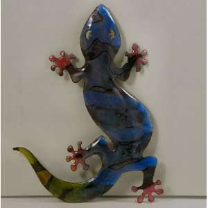 Bovano Enamel Wall Art Home Decor Small Blue Gecko
