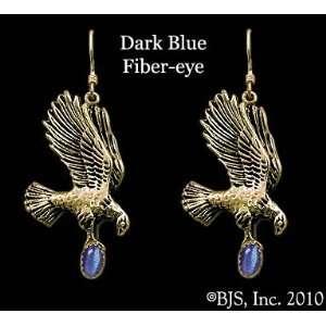 Yellow Gold, Dark Blue set gemstone, Eagle Animal Jewelry, 14 k gold