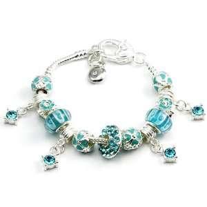 Zirconia Charm with Blue Murano Glass Beads Charm Bracelet Jewelry