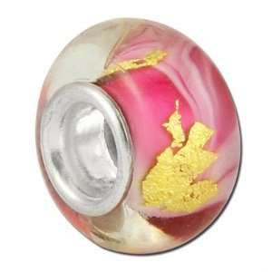 13mm Pink with Gold Foil Lining Large Metal Hole Glass Beads Jewelry