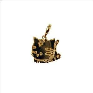 14k Yellow Gold, Kitty Cat Pendant Charm 14mm Wide Jewelry