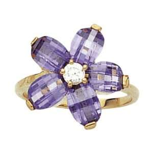 18K Gold Plated Violet & White Cubic Zirconia Flower Band Ring   Size