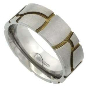 Titanium 8mm Flat Wedding Band Ring Stone Masonry Pattern Gold color