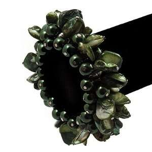 Chunky Forest Green Shell And Bead Flex Bracelet Jewelry