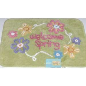 Welcome Spring Floral Throw Rug Cotton Bath Mat 20x30: Everything Else