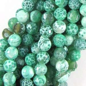 8mm faceted green fire agate round gemstone beads 15.5