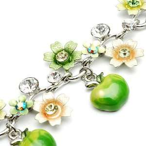 Perfect Gift   High Quality Green and Light Green Flower Bracelet with