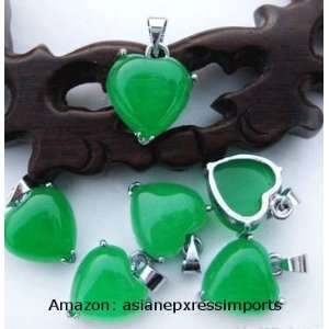 1 Piece Natrual Green Jade Heart Pendant   Forever Love