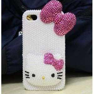 3D Hello Kitty Pearls Mixed Crystal Diamonds Style,Hard Case/Cover