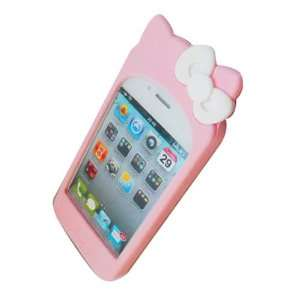 Cute Hello Kitty Silicone Case for iPhone 4 (Baby Pink