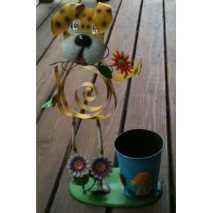 Metal Dog with Flowers Yellow Planter Patio, Lawn