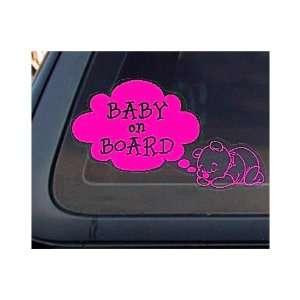 Bear Baby on Board Car   8 HOT PINK   Vinyl Decal / Window Sticker