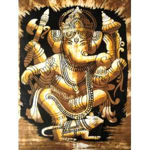 Indian Elephant Face God Ganesh / Dancing Ganesha / Cotton Fabric