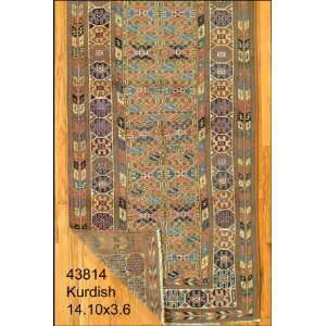 3x14 Hand Knotted Kurd Kurdistan Rug   36x1410: Home & Kitchen