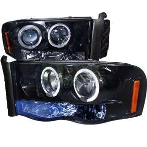 2005 Dodge Ram Halo Projector Headlight Gloss Black Housing Smoke Lens