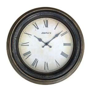 Maples 13 Inch Molded Frame Wall Clock, Antique Brass