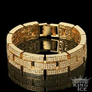 Yellow Gold Plated Mens Iced Out Hip Hop Bracelet Jewelry