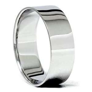 8MM Wide Mens Solid 14K White Gold Karat Comfort Fit Wedding Ring