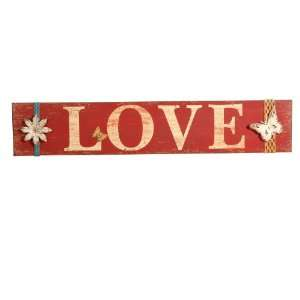 Wilco Imports Rust Red Colored Wooden Wall Sign Love with Metal