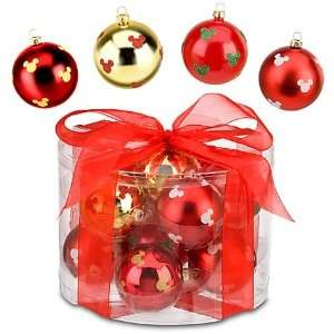 Disney Mickey Mouse 12 pc Red Gold Christmas Ornaments