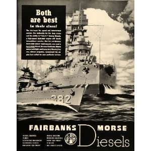 1939 Ad Fairbanks Morse Diesel Engines Battle Ships