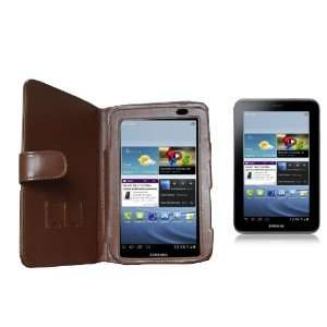 Navitech Brown Leather Carry Case / Cover for the Samsung