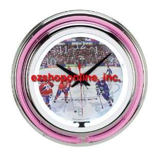 Sports Mania Hockey Theme Double Neon Clock Home & Kitchen