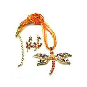 com Orange Light Purple Color Austrian Rhinestone Dragonfly Necklace