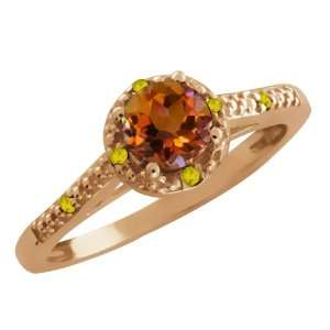 65 Ct Round Orange Mystic Topaz and Yellow Citrine 14k Rose Gold Ring
