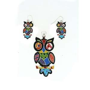Fashion Jewelry ~ Multi Color Owl Pendant and Earrings Set
