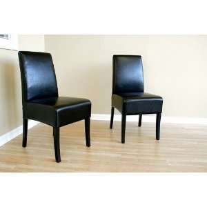 Contemporary Black Full Leather Parson Dining Chairs