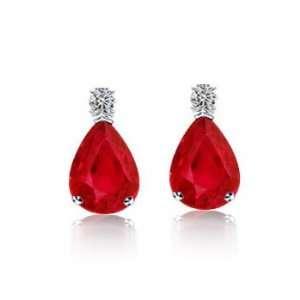 3.87Ct Pear Cut Ruby & Diamond Hanging Earrings 14K Gold Jewelry