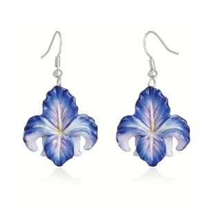 Franz Porcelain Brass Pierced Earrings Blue Iris Flower