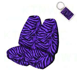 Animal Print High Back Bucket Seat Covers and 1 Key Fob   Zebra Purple