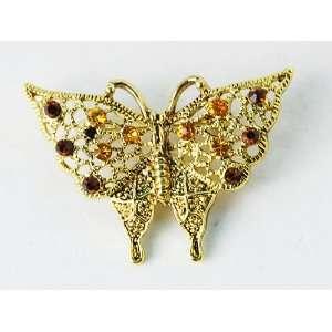 Orange Yellow Topaz Rhinestone Gold Tone Butterfly Pin Brooch Jewelry