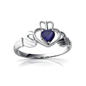 White Gold Heart Genuine Sapphire Celtic Claddagh Ring Size 6 Jewelry