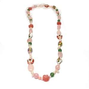 Shades of Pink Freshwater Pearl and Rose Quartz Necklace