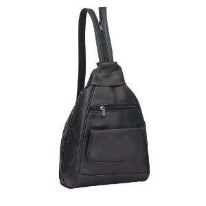 Leather Mini Travel Shopping Backpack  Black Office