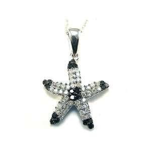 Black & White Diamond Starfish Necklace 10k white gold Jewelry